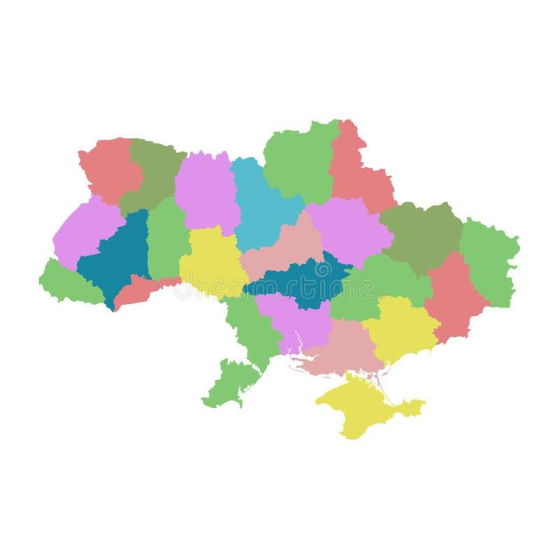 Ukraine mit Regionen auf weißem Hintergrund Flacher Vektor vektor abbildung