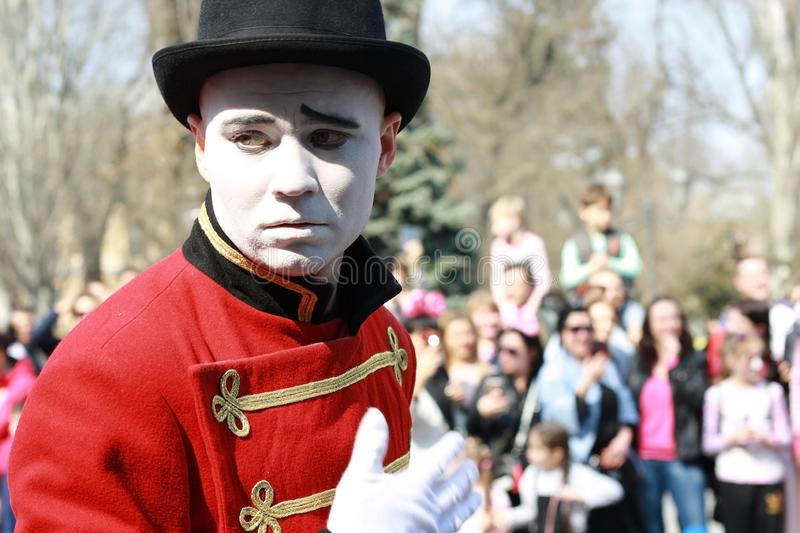 UKRAINE, ODESSA - April 1, 2019: a celebration of humor and laughter, Umorina, artist mime at a parade of humor on a sunny day. Close up stock photography