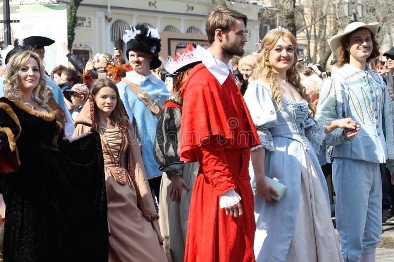 UKRAINE, ODESSA - April 1, 2019: a celebration of humor and laughter, humor, young people in costumes from the Dartanyan movie and. Three musketeers. A young stock image