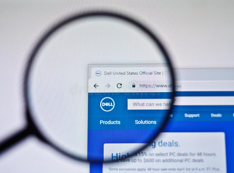 UKRAINE, ODESSA - APRIL 25, 2019: Dell website logo through magnifying glass. UKRAINE, ODESSA - APRIL 25, 2019: Dell website logo through magnifying glass stock photography