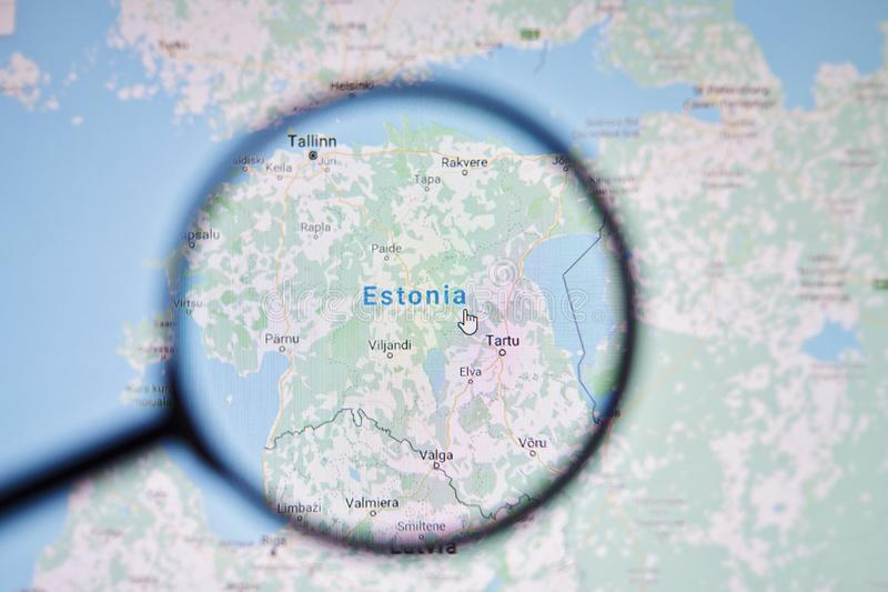 UKRAINE, ODESSA - APRIL 25, 2019: Estonia on google maps through magnifying glass. UKRAINE, ODESSA - APRIL 25, 2019: Estonia on google maps through magnifying stock photo