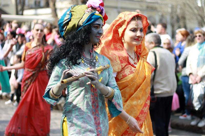Ukraine, Odessa - April 1, 2019 Hare Krishna members sing and dance during a festive procession dedicated to the Day of Laughter. And Humor, Humorina stock photography