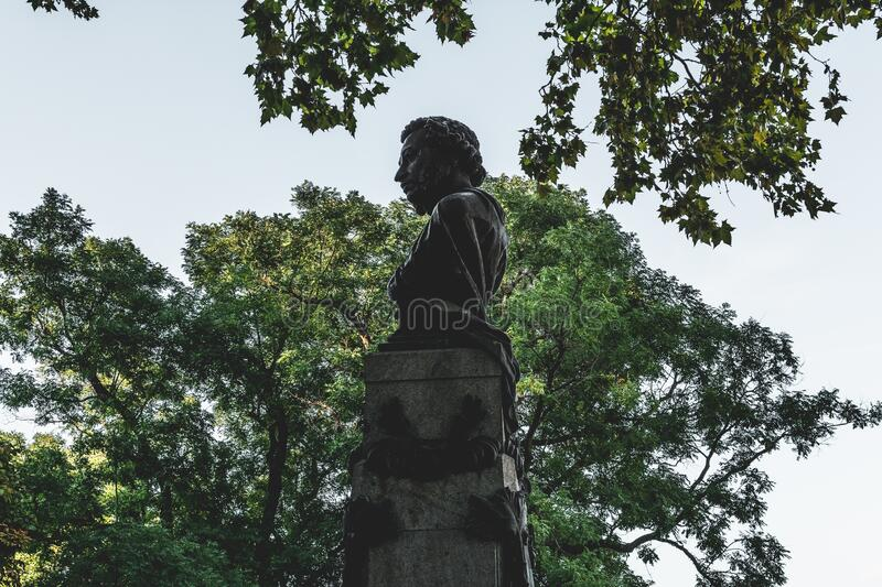 Ukraine, Odessa - August 28, 2019: Monument-bust to Alexander Pushkin. Alexander Pushkin Russian poet was the son of a black slave. Abram Hannibal royalty free stock photos