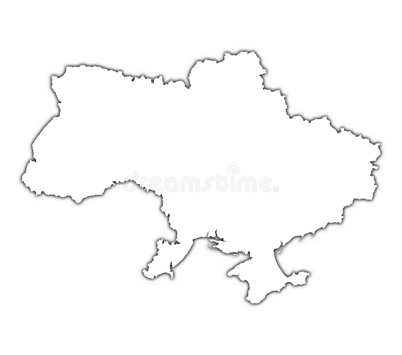 Ukraine outline map stock illustration