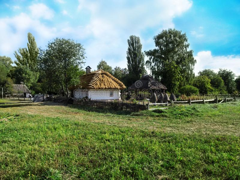 Ukraine, Pyrohiv Kiev - September 17, 2017: Landscape of the Ukrainian traditional village stock image