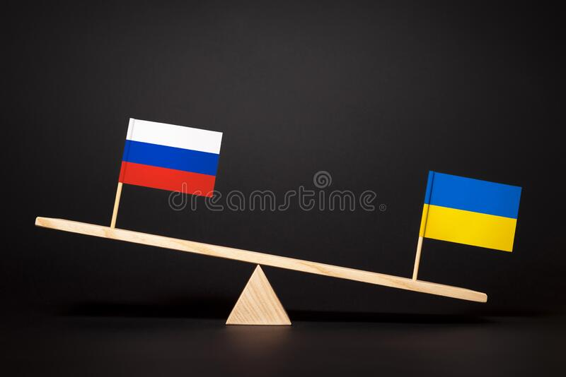 Ukraine and Russia confrontation stock images