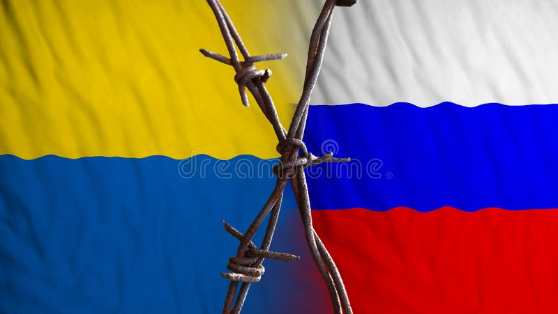Russia Ukraine confrontation. Ukraine and Russian flags, divided by barb wire. Regional conflict symbol royalty free illustration