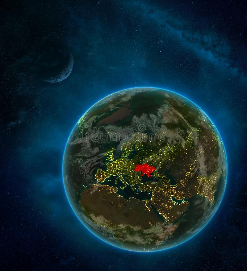 Ukraine from space on Earth at night surrounded by space with Moon and Milky Way. Detailed planet with city lights and clouds. 3D. Illustration. Elements of vector illustration