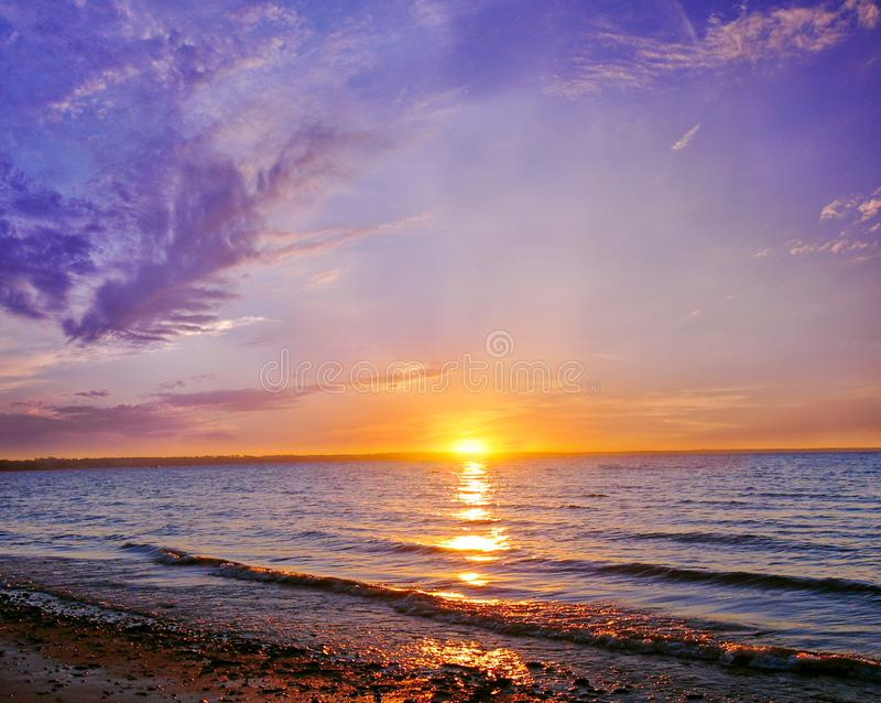 Ukraine sunset on azov sea. Liman stock images