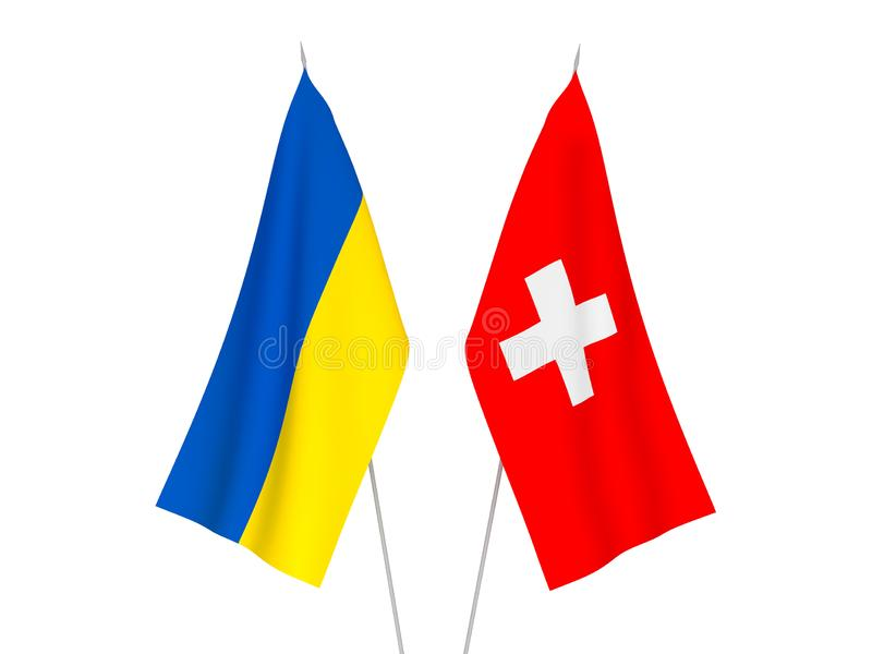 Ukraine and Switzerland flags. National fabric flags of Ukraine and Switzerland isolated on white background. 3d rendering illustration vector illustration