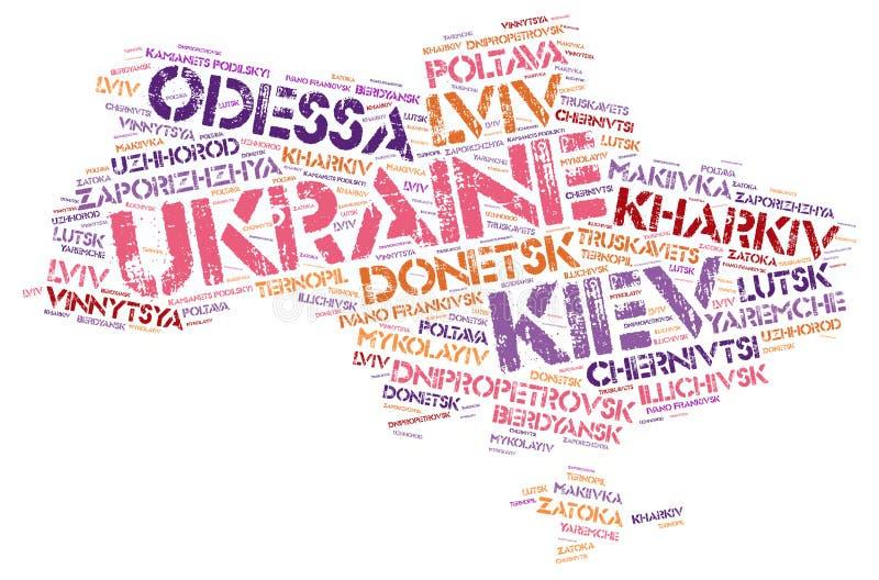 Ukraine top travel destinations word cloud. Ukraine map silhouette word cloud with most popular travel destinations royalty free illustration