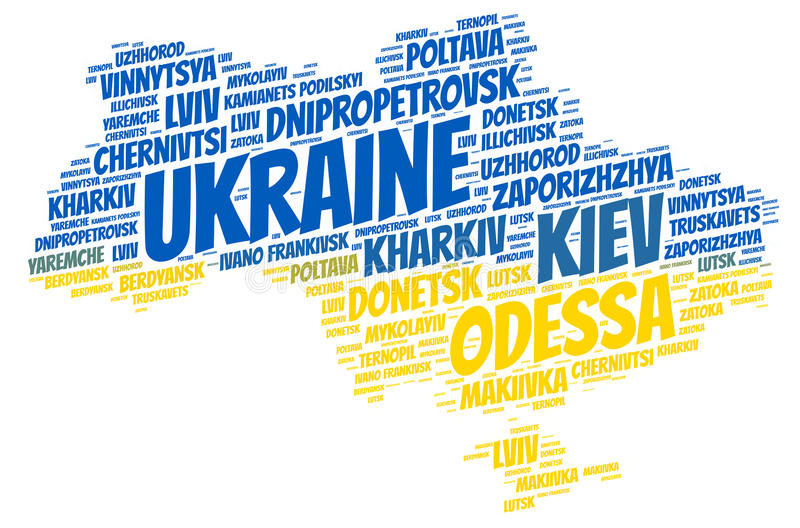 Ukraine top travel destinations word cloud. Ukraine map silhouette word cloud with most popular travel destinations stock illustration