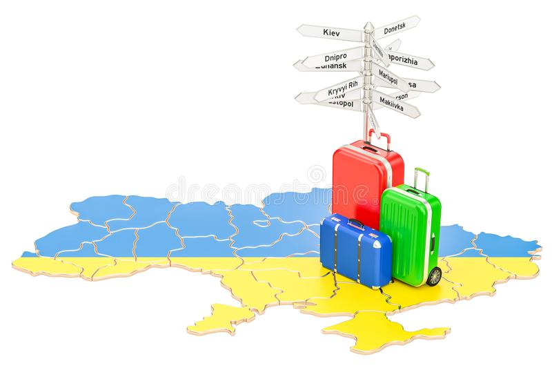 Ukraine travel concept. Ukrainian map with suitcases and signpost, 3D rendering. Ukraine travel concept. Ukrainian map with suitcases and signpost, 3D royalty free illustration