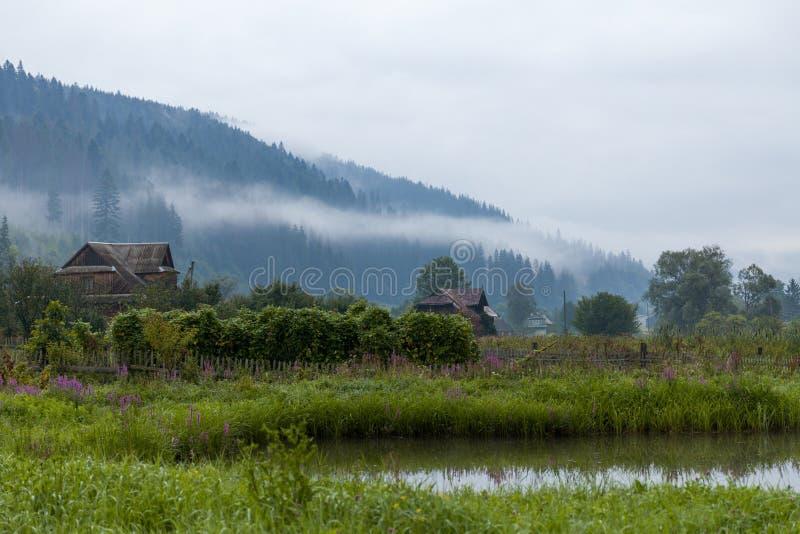 Ukraine village air, amazing beautiful mountain background.  royalty free stock image