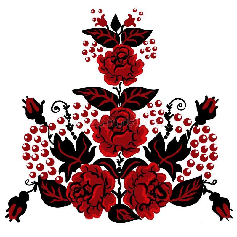 Ukraine-Volksverzierung, Dekorationsdesign auf Schale, Kleidungsblumenmusterblumen, Druck für Handtasche lizenzfreie abbildung