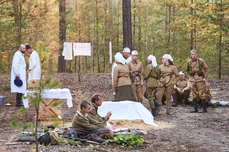 Ukraine, Voronezh - September 2, 2018: Reconstruction of the Second World War, field hospital of Russian soldiers stock image