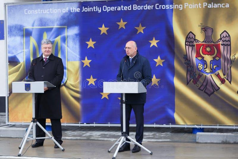 Ukrainean佩德罗波罗申科总统新的摩尔多瓦的乌克兰边界Palanca的就职典礼的 库存图片