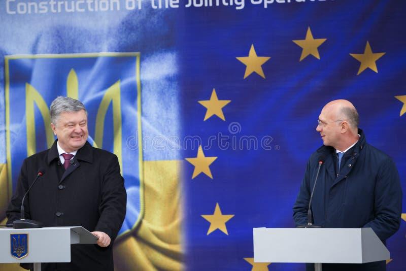 Ukrainean佩德罗波罗申科总统新的摩尔多瓦的乌克兰边界Palanca的就职典礼的 免版税库存图片