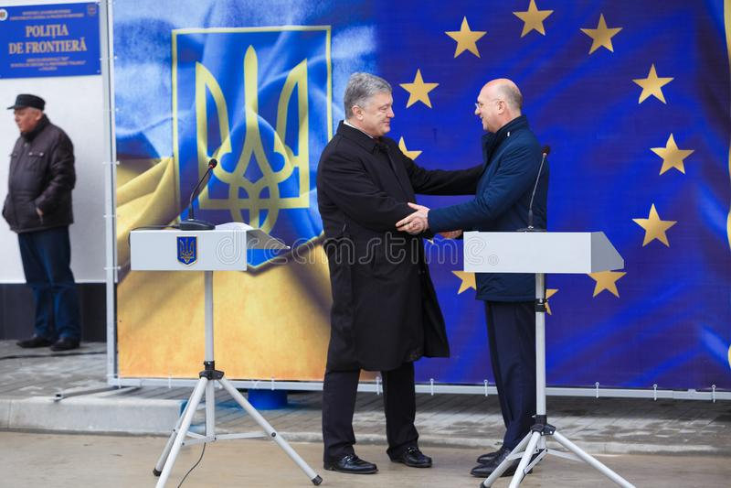 Ukrainean佩德罗波罗申科总统新的摩尔多瓦的乌克兰边界Palanca的就职典礼的 免版税库存照片