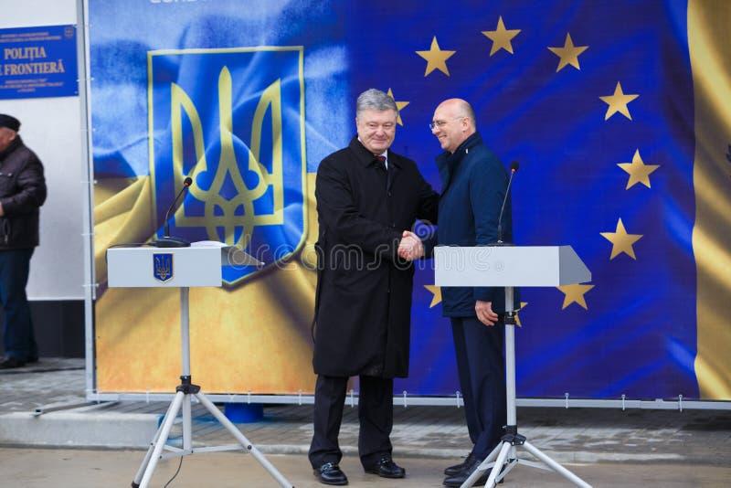 Ukrainean佩德罗波罗申科总统新的摩尔多瓦的乌克兰边界Palanca的就职典礼的 库存照片