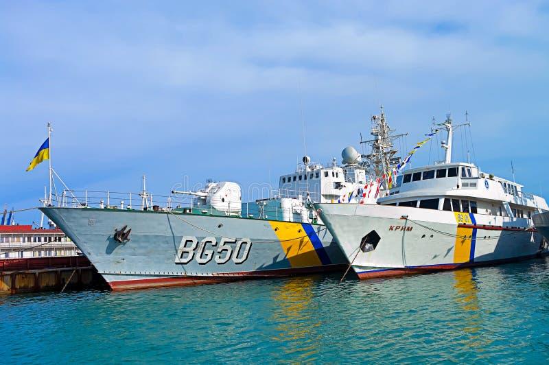 Ukrainean okręty wojenni w schronieniu Odessa, Ukraina obrazy royalty free