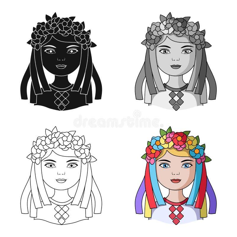 ukrainian Único ícone da raça humana na Web da ilustração do estoque do símbolo do vetor do estilo dos desenhos animados ilustração stock