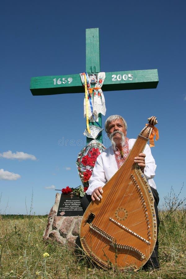 ukrainian музыканта bandura перекрестный вниз стоковые фотографии rf