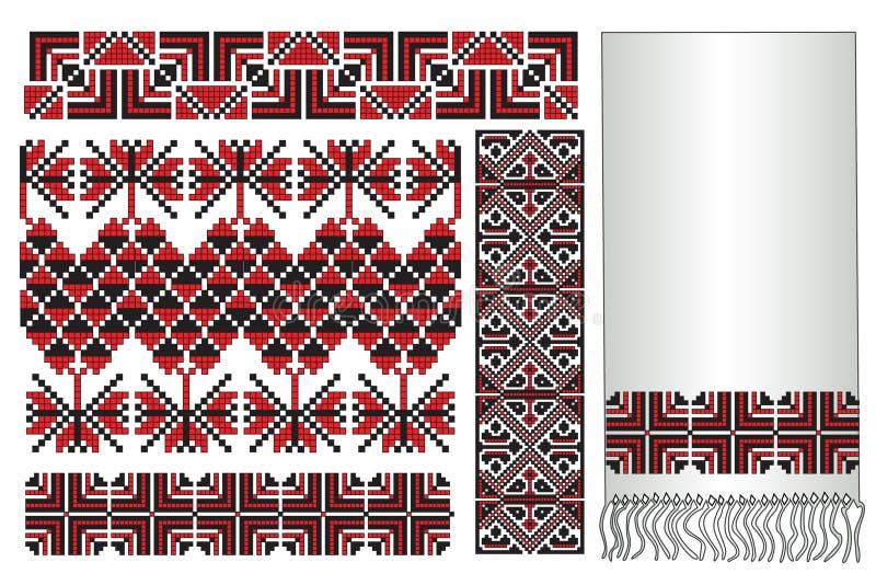 ukrainian полотенца вышивки иллюстрация вектора