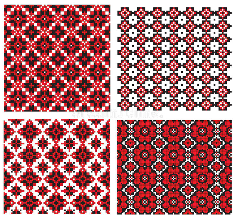 ukrainian текстуры вышивки иллюстрация вектора