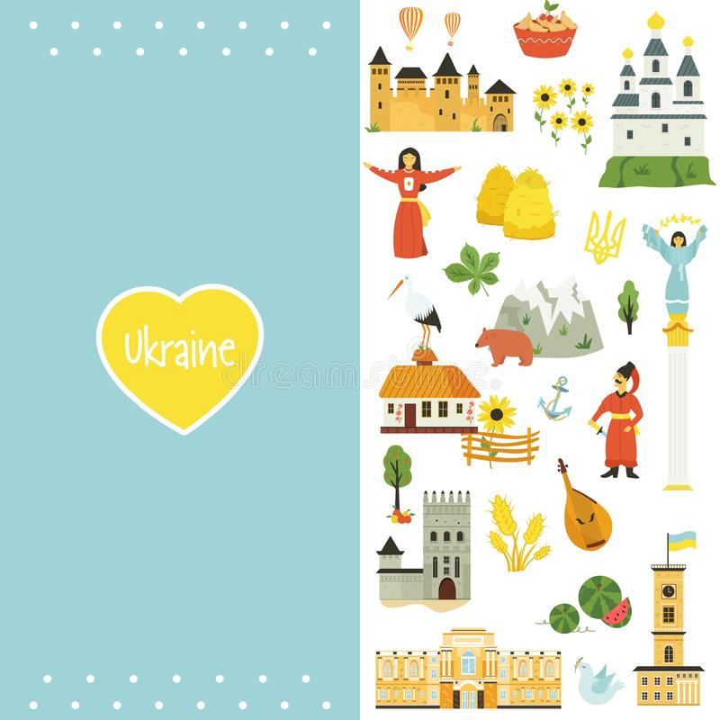 Free Ukrainian Artistic Cover With Famous Symbols Icons Stock Photos - 163039373
