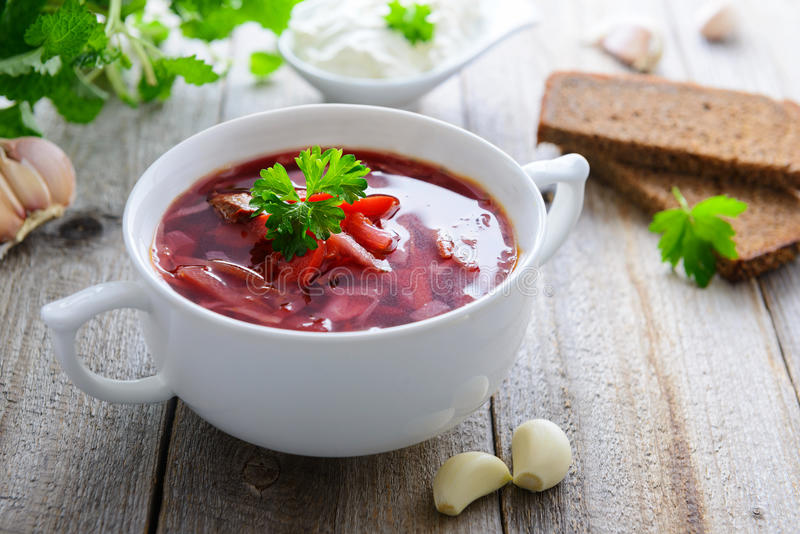 Ukrainian cabbage and beetroot soup - borshch royalty free stock photos