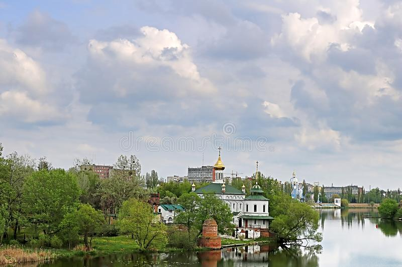 Ukrainian church near river in the spring, Vinnytsia, Ukraine. Eastern Europe royalty free stock images