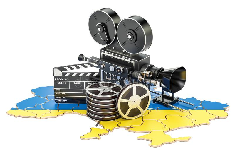Ukrainian cinematography, film industry concept. 3D rendering. Isolated on white background royalty free illustration