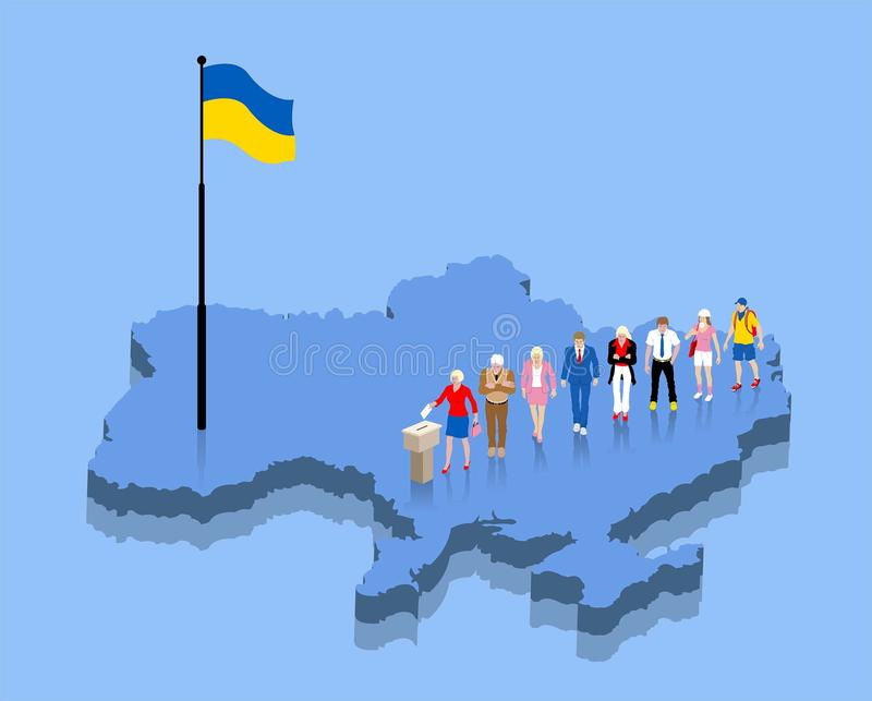 Ukrainian citizens are voting for election over a Ukraine map. All the objects, shadows and background are in different layers vector illustration