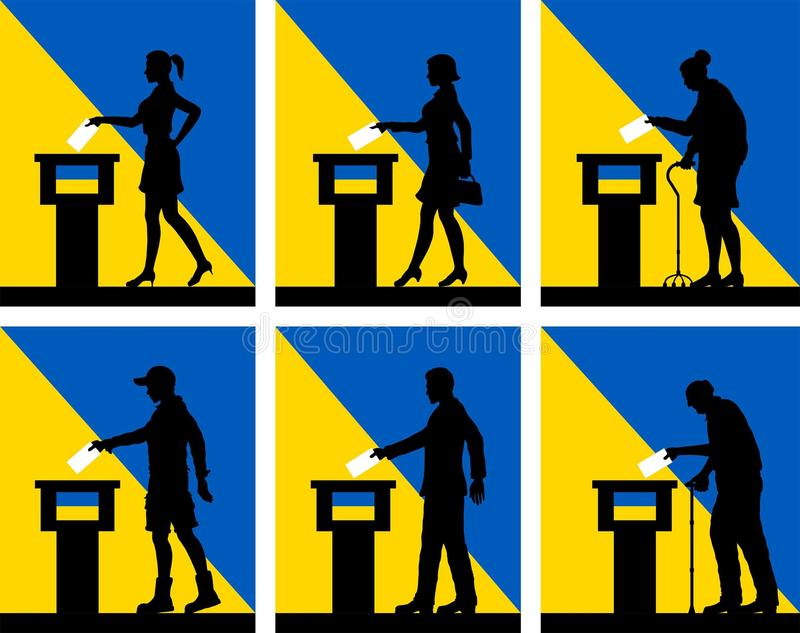 Ukrainian citizens voting for election in Ukraine. All the silhouette objects and backgrounds are in different layers stock illustration