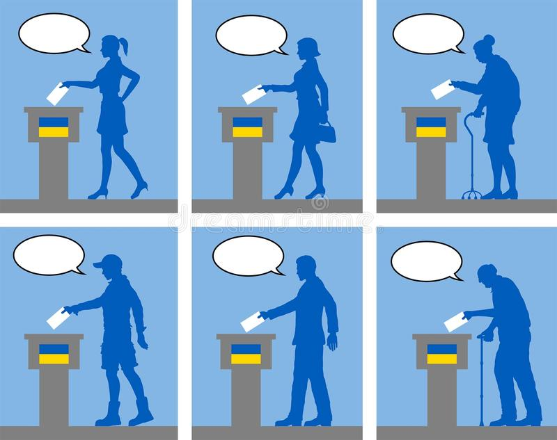 Ukrainian citizens voting for election in Ukraine with speech bubble. All the silhouette objects and backgrounds are in different layers stock illustration