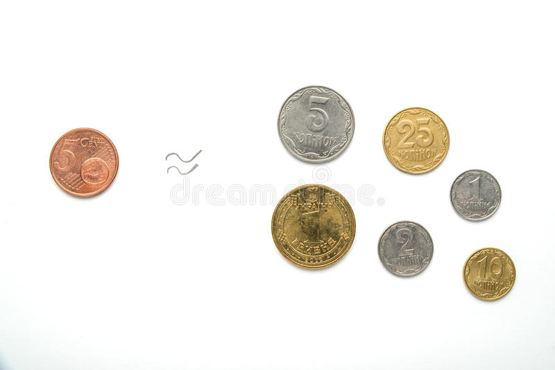 Ukrainian coins and five euro cents against the background of the national flag. Currency of Eurovision. The exchange rate of the. Ukrainian national coins and stock images