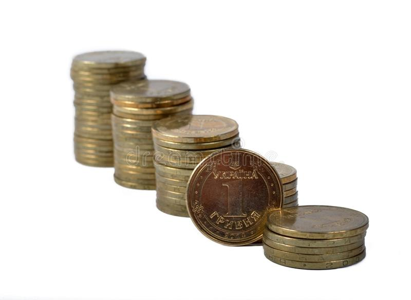 Ukrainian coins of hryvnia stock photo