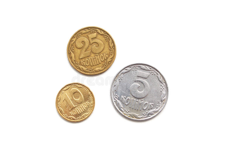Ukrainian coins on a white background. Ukrainian coins in denominations of 5, 10, 25 cents on a white background royalty free stock images