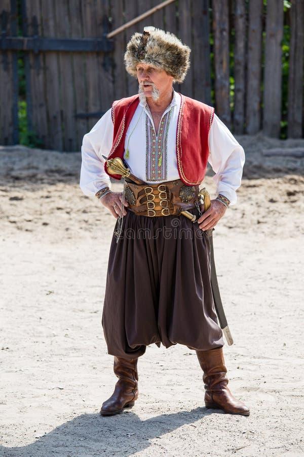 Ukrainian Cossack in national dress stock photos