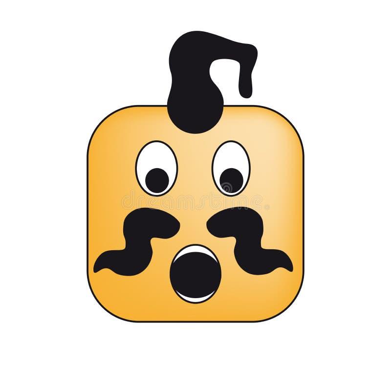 Ukrainian cossack square emoticon /emoji of surprise. Ukrainian cossack square emoticon / emoji of surprise royalty free illustration