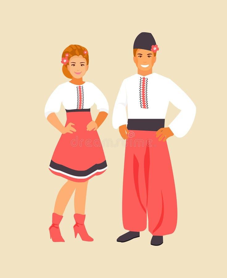 Ukrainian costume vector. Ukrainian man and woman in traditional clothes. Vector illustration stock illustration