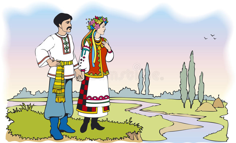Ukrainian couple in colorful national costumes. Vector Image. Ukrainian couple in colorful national costumes against the backdrop of the summer landscape with stock illustration