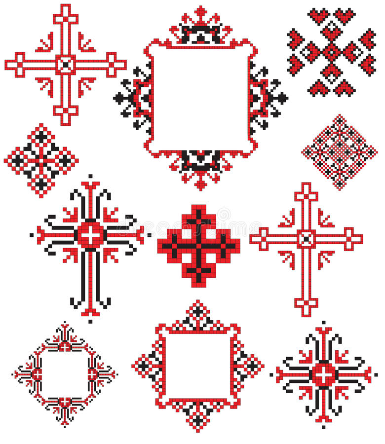 Ukrainian cross embroider. There is a scheme of ukrainian pattern for embroidery vector illustration