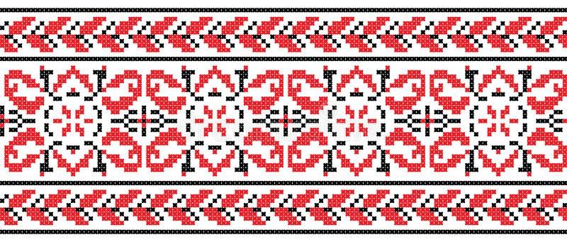 Ukrainian cross-stitch ornament - Vector. Ukrainian cross-stitch red and black pattern - Vector royalty free illustration