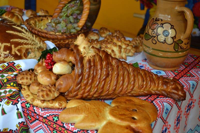 Ukrainian cuisine. Baked goods baking banquet table stock photography
