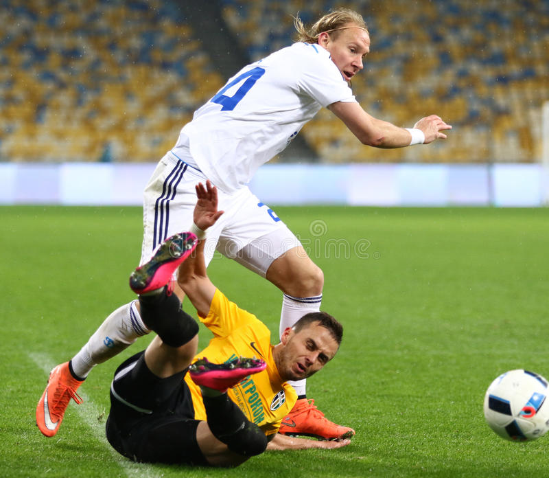 Ukrainian Cup quarterfinal game FC Oleksandria vs FC Dynamo Kyiv in Kyiv, Ukraine. KYIV, UKRAINE - March 1, 2016: Domagoj Vida of FC Dynamo Kyiv (in White) stock photos