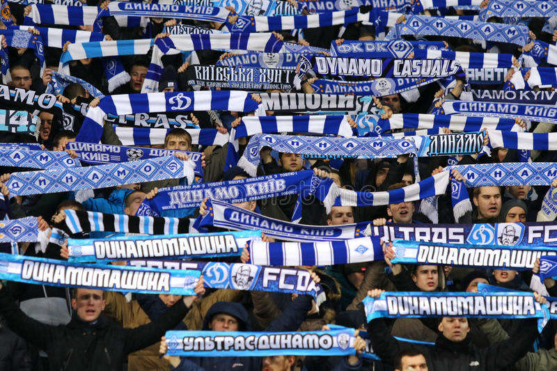 Ukrainian Cup quarterfinal game FC Oleksandria vs FC Dynamo Kyiv in Kyiv, Ukraine. KYIV, UKRAINE - March 1, 2016: FC Dynamo Kyiv ultra supporters perform during royalty free stock image