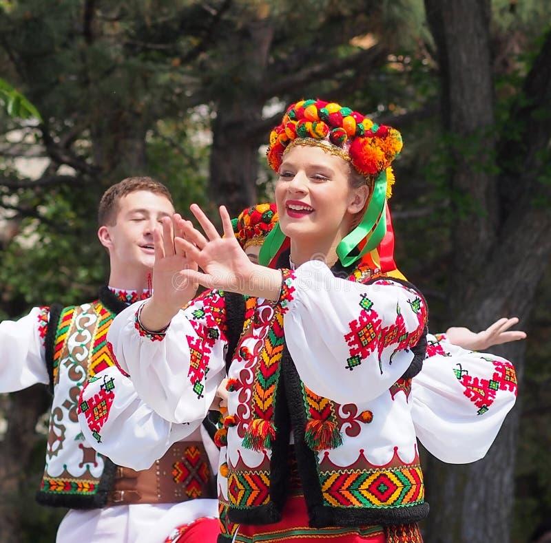 Ukrainian Dancers. At Canada Day celebration Edmonton Alberta royalty free stock photo