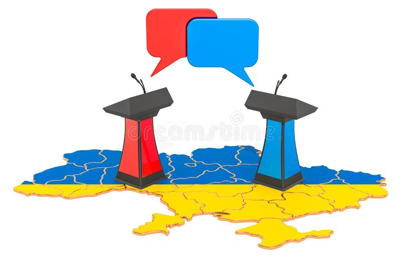 Ukrainian Debate concept, 3D rendering. Isolated on white background stock illustration